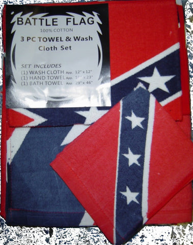 Battle Flag 3 Pc Towel & Wash Cloth set