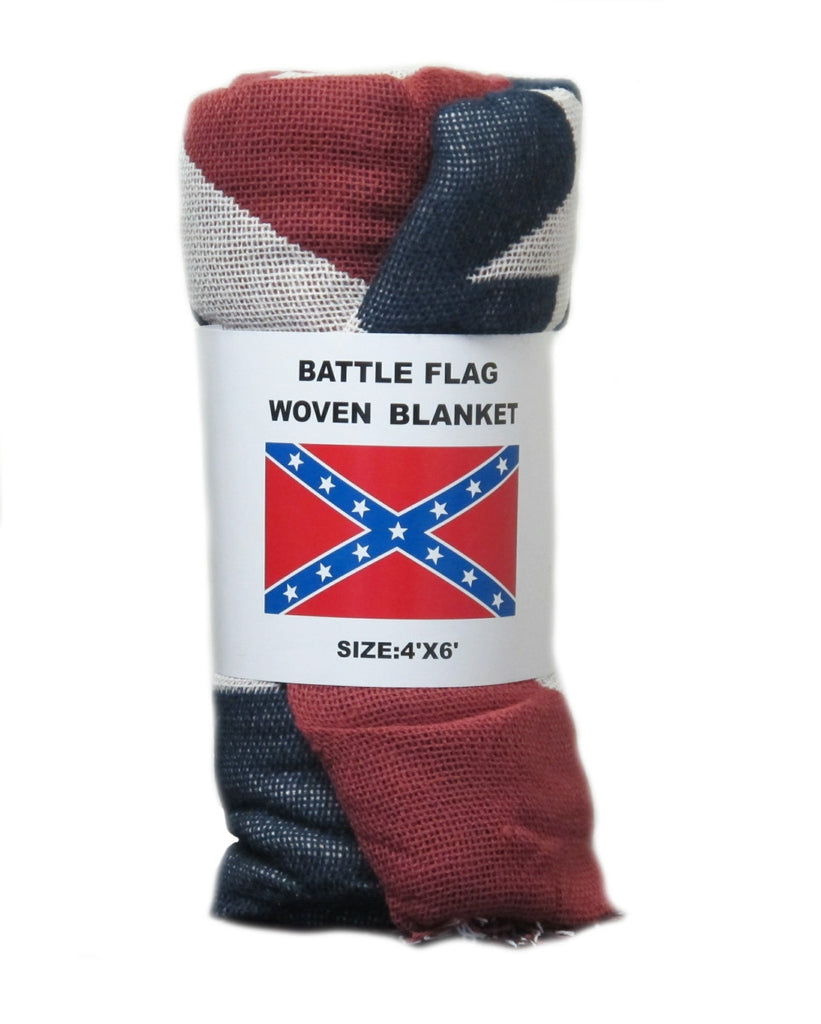 Woven Confederate Battle Flag Blanket 4' x 6'
