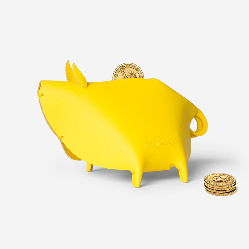 Leather Piggy Bank – Yellow