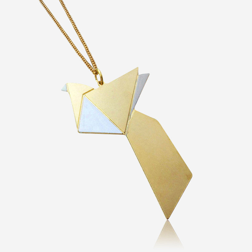 Long Origami Bird Necklace – Grey, Lavender, Aqua