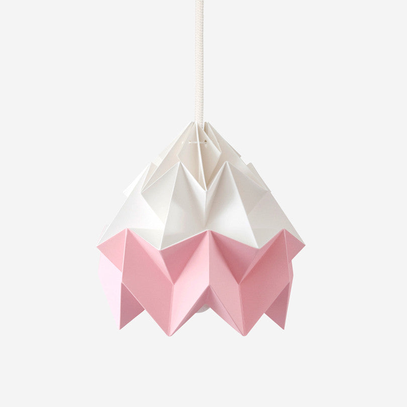 Moth Paper Origami Lamp – White / Pink