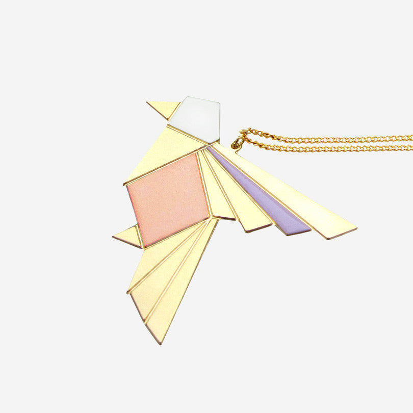Origami Exotic Bird Necklace – Purple, Light Pink, Peach