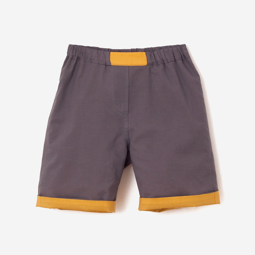 Reversible Unisex Grey-Yellow Bermuda Shorts