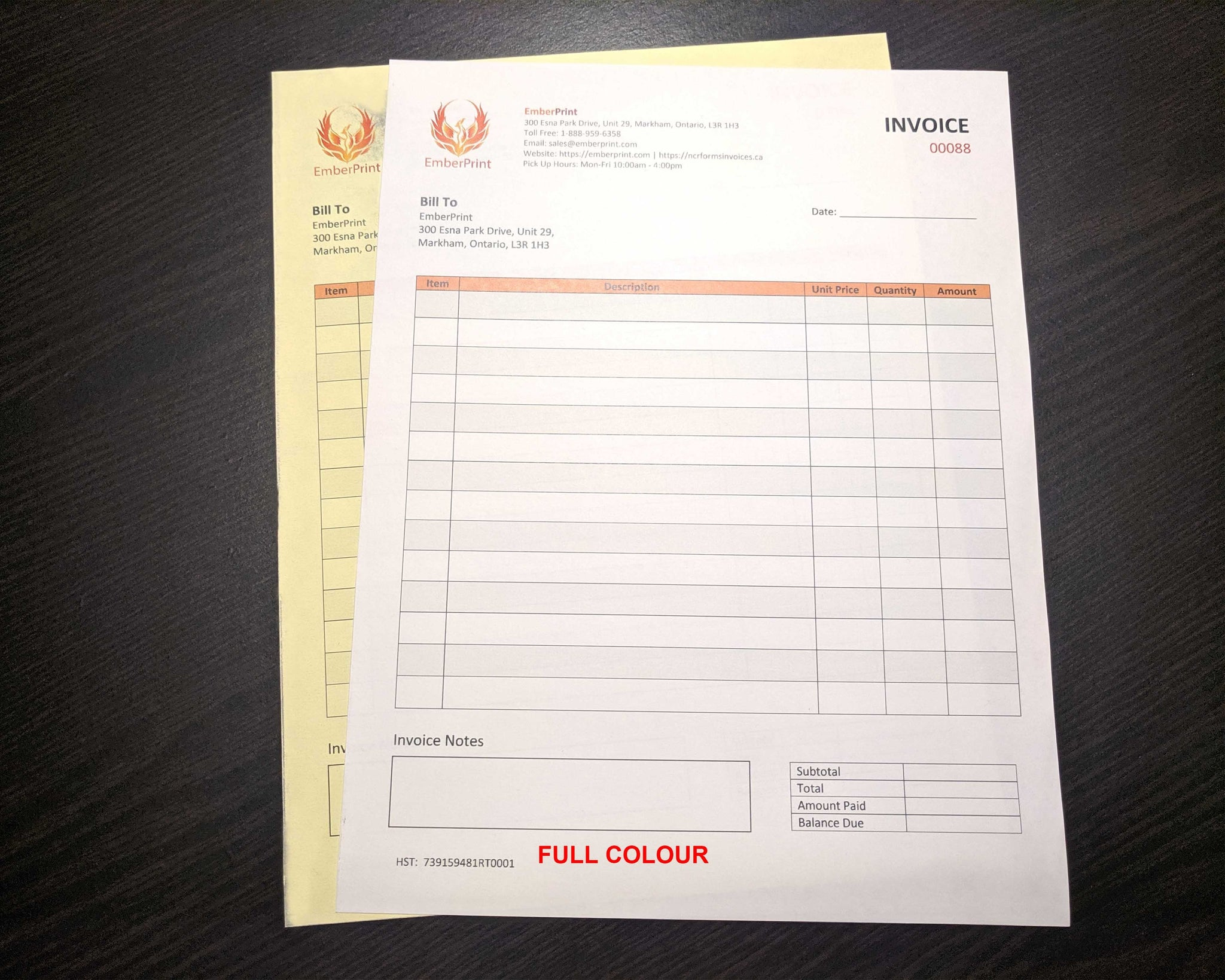 "Carbonless NCR Forms 2-Part 4.25""x7"" Front Side Full Colour"