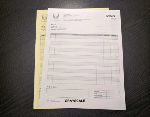 "Carbonless NCR Forms 2-Part 8.5""x14"" Front Side Grayscale"