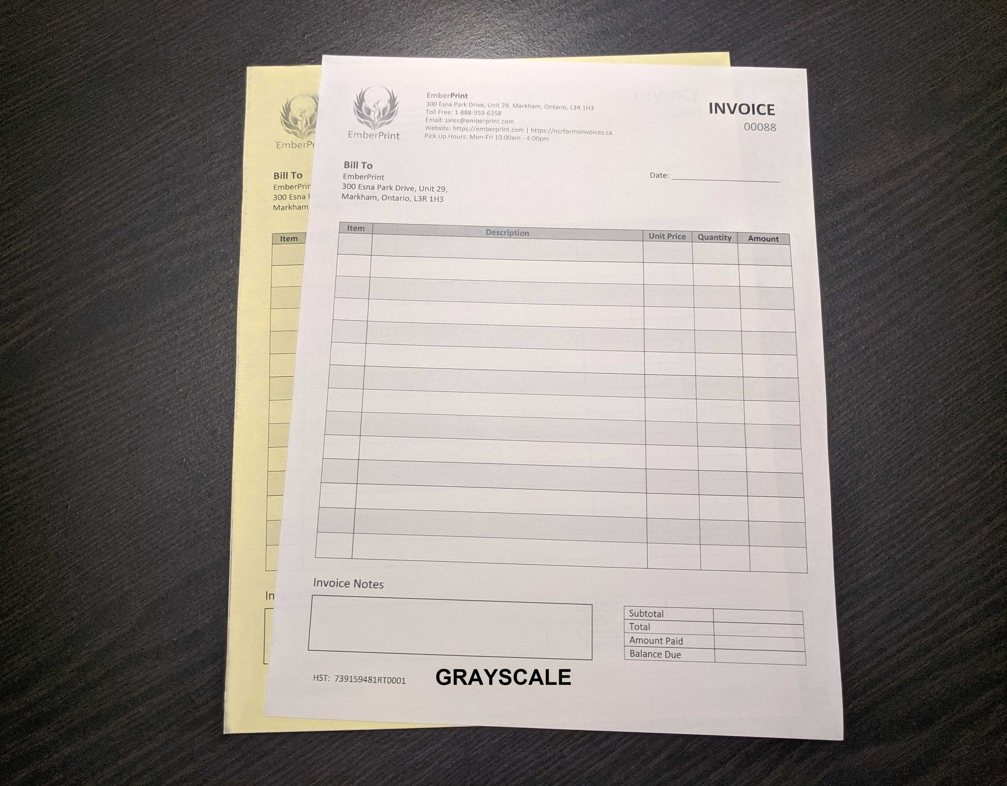 "Carbonless NCR Forms 2-Part 4.25""x5.5"" Front Side Grayscale"