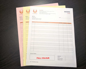 "Carbonless NCR Forms 3-Part 4.25""x14"" Both Sides Full Colour"