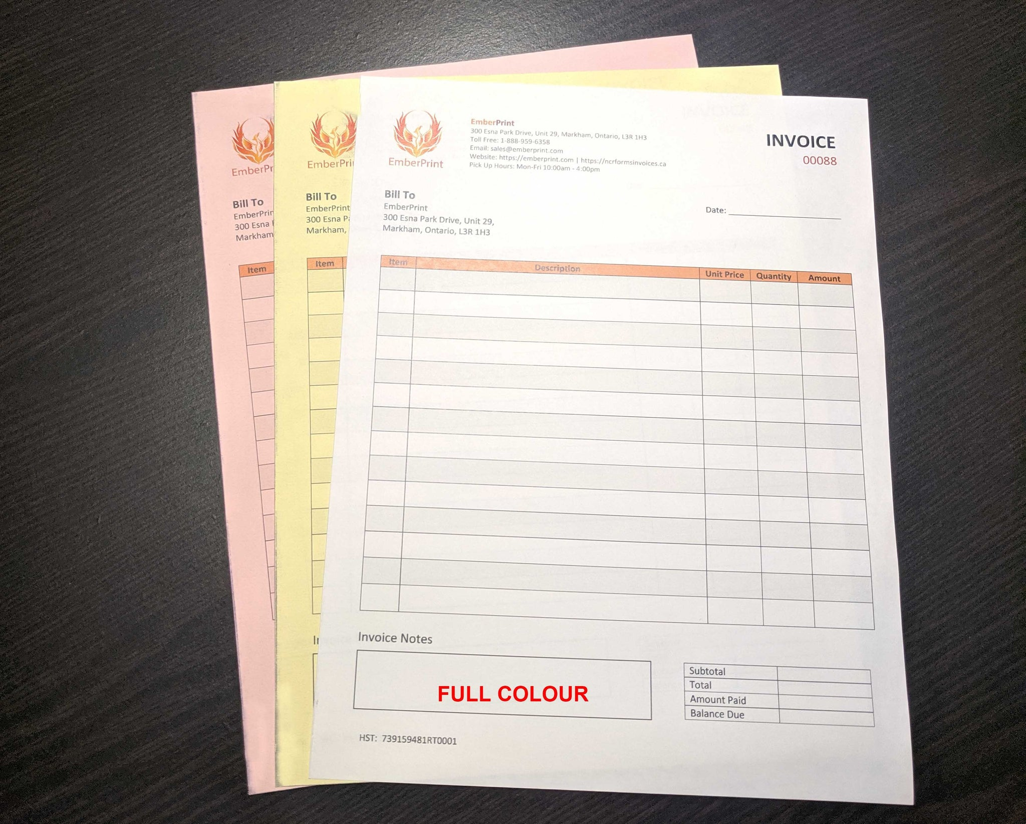 "Carbonless NCR Forms 3-Part 8.5""x14"" Front Side Full Colour"