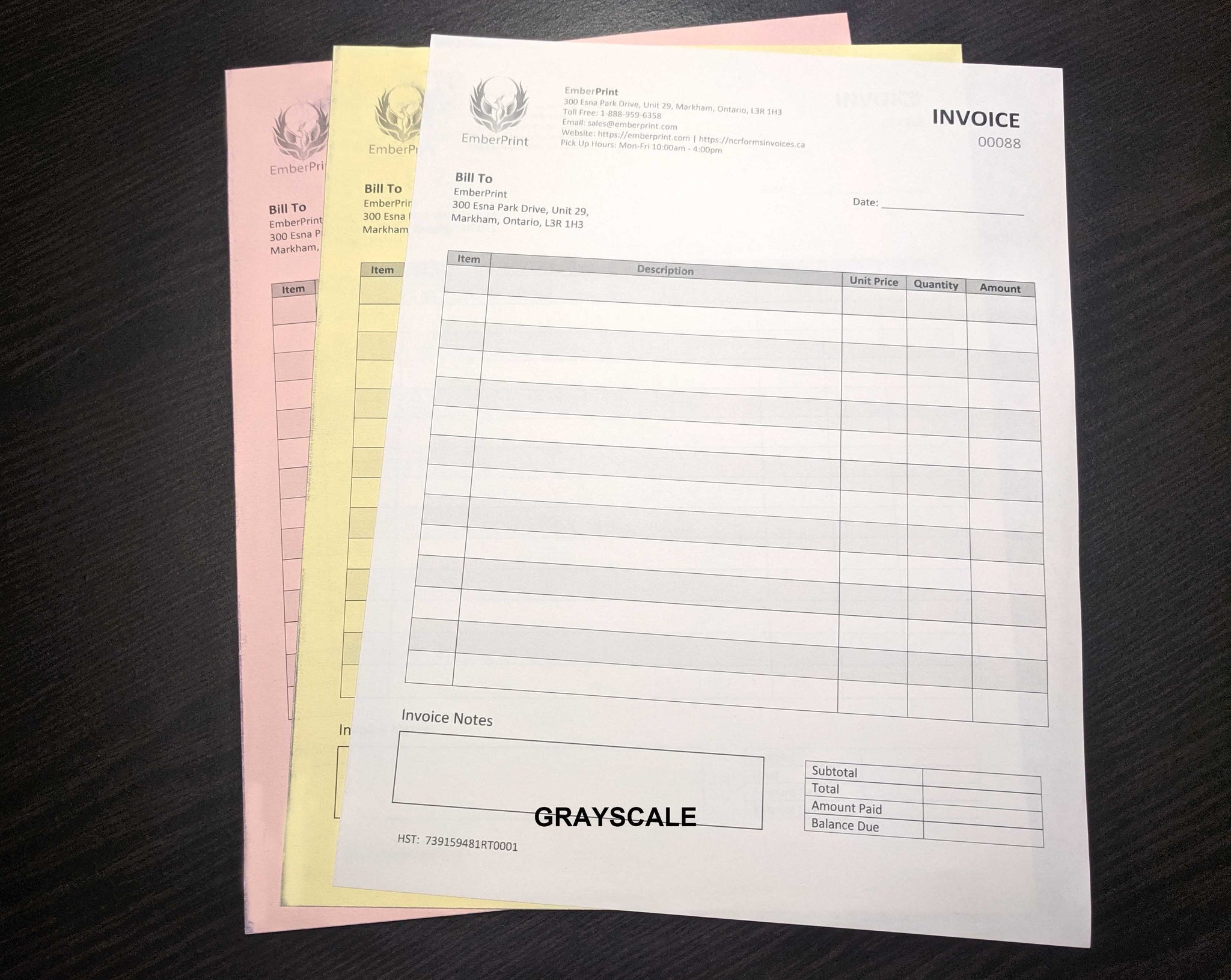 "Carbonless NCR Forms 3-Part 4.25""x5.5"" Front Side Grayscale"