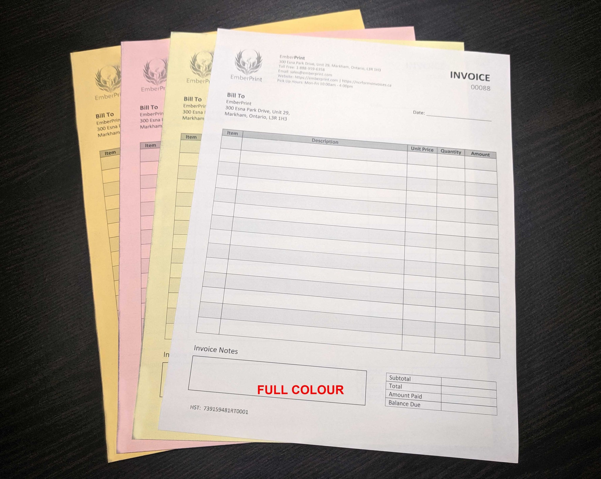 "Carbonless NCR Forms 4-Part 4.25""x3.5"" Both Sides Full Colour"