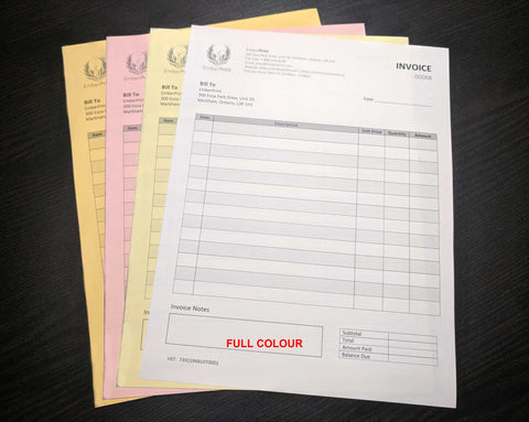 "Carbonless NCR Forms 4-Part 4.25""x7"" Front Side Full Colour"