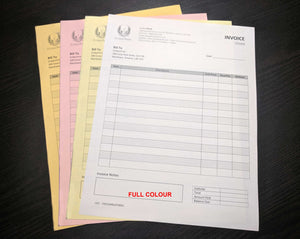 "Carbonless NCR Forms 4-Part 4.25""x5.5"" Front Side Full Colour"