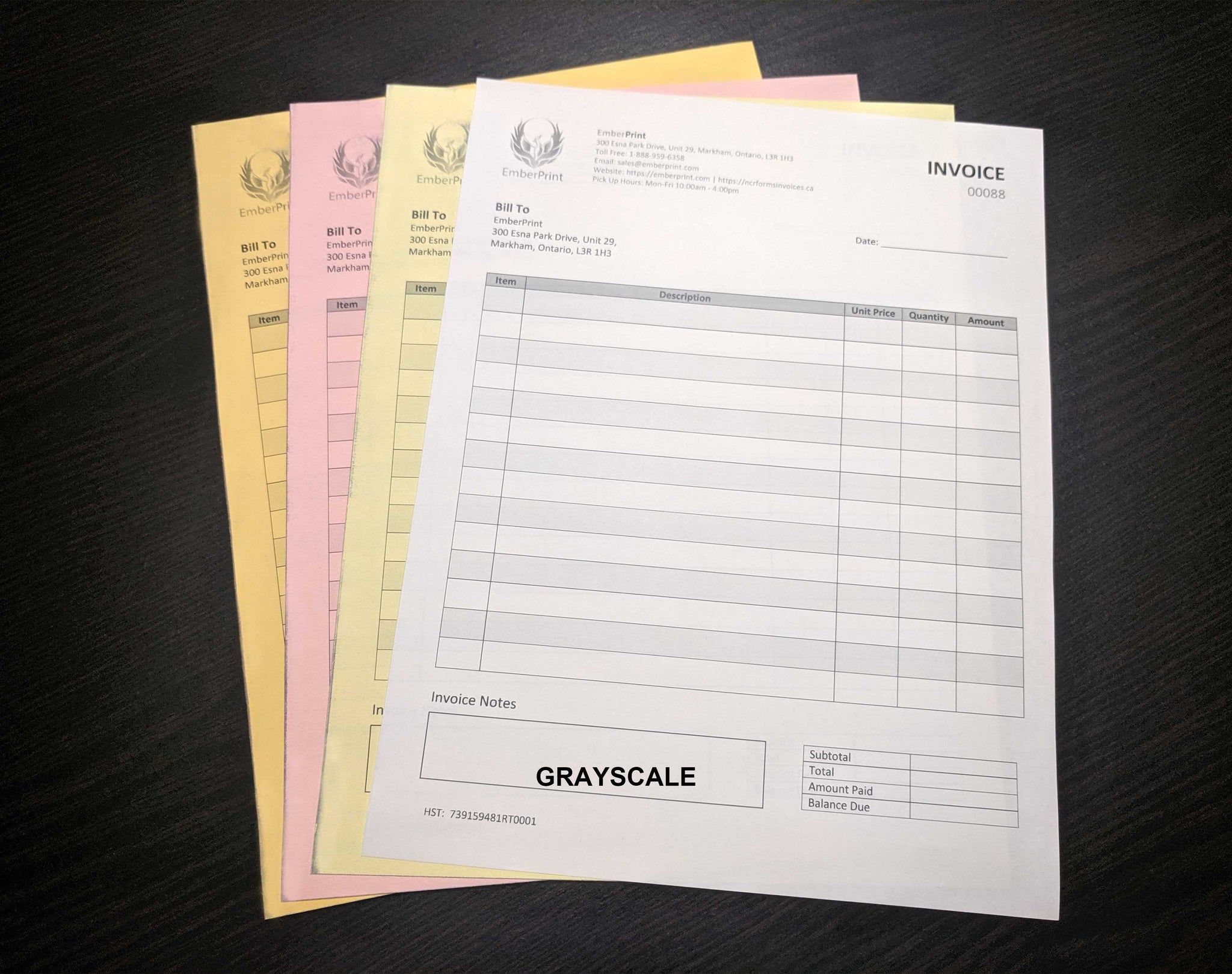 "Carbonless NCR Forms 4-Part 8.5""x14"" Front Side Grayscale"
