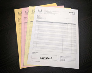 "Carbonless NCR Forms 4-Part 4.25""x5.5"" Front Side Grayscale"