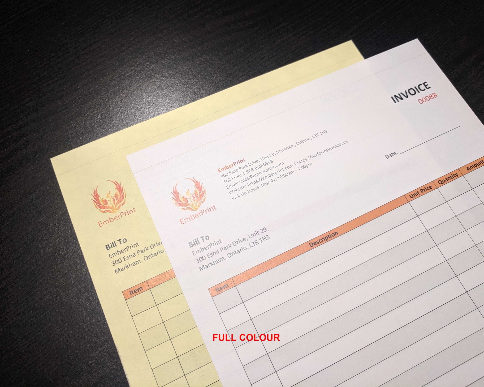 "Perforated Carbonless NCR Forms 2-Part 5.5""x8.5"" Front Side Full Colour"