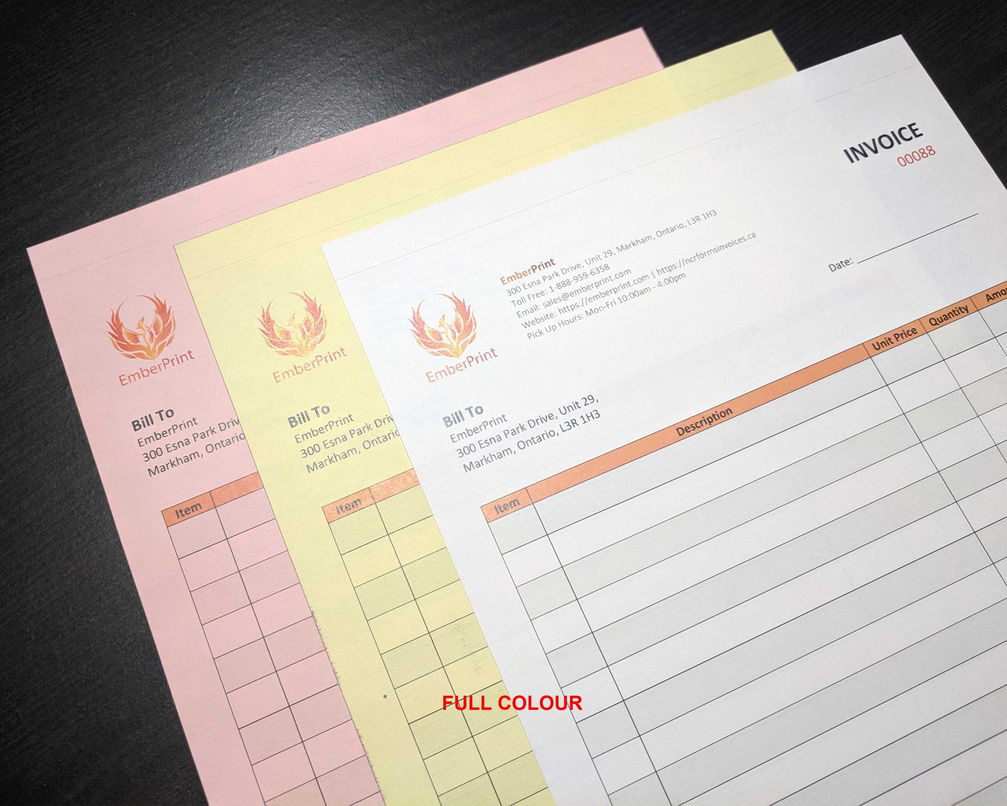 "Perforated Carbonless NCR Forms 3-Part 3.65""x5.5"" Both Side Full Colour"
