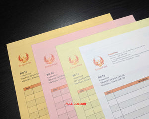 "Perforated Carbonless NCR Forms 4-Part 4.25""x7"" Front Side Full Colour"