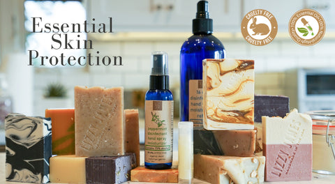 new handmade artisanal bar soap with 100% essential oils and hand sanitizers with 70% alcohol collection