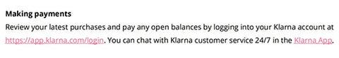 Klarna log in link