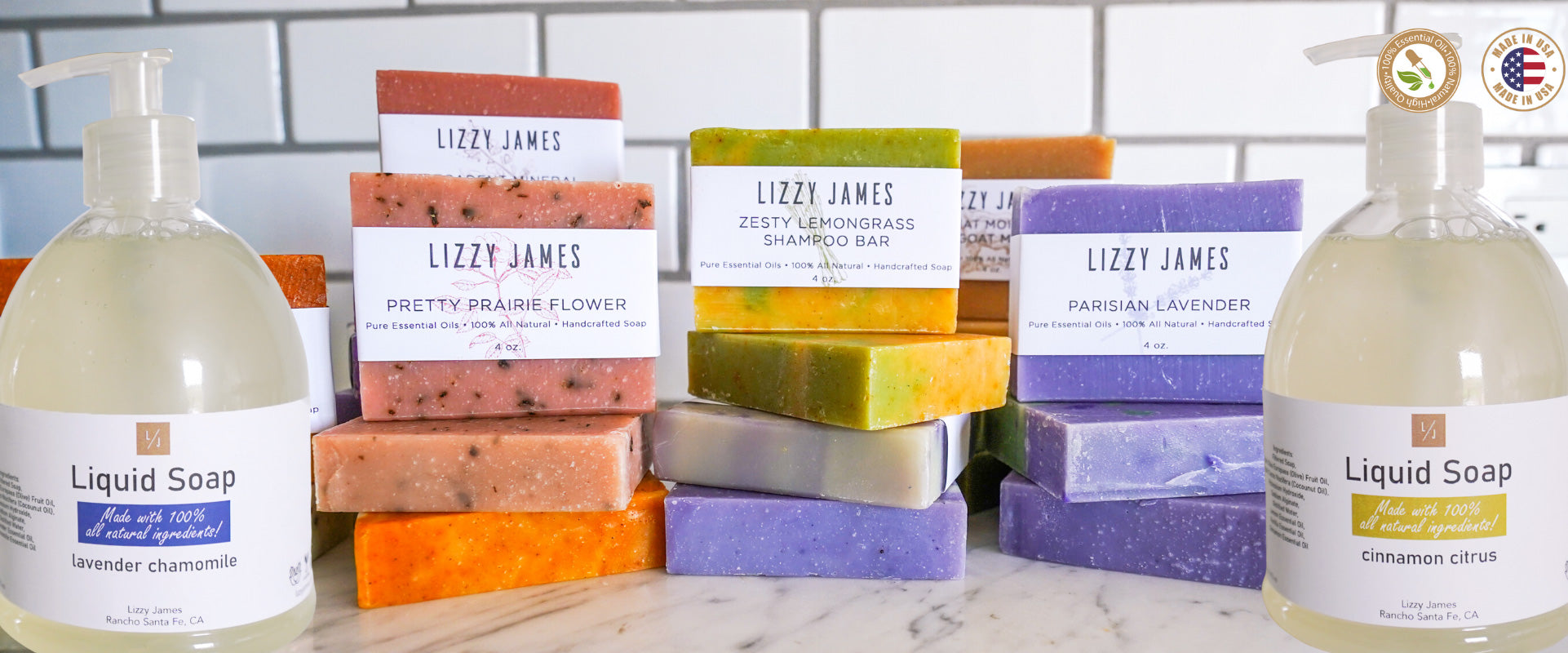 liquid soap and bar soaps with essential oils collection