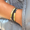 mini addison gold and silver leather wrap bracelet