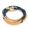 Lizzy Classic Goldplate 4 strand, natural true blue leather