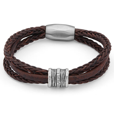Ace Unisex Brown Leather and Stainless Steel Bracelet