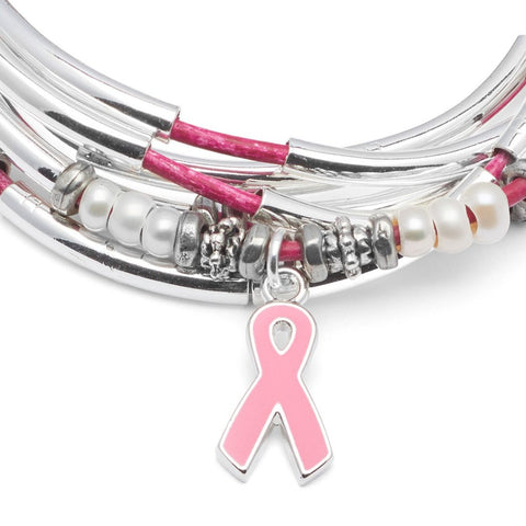 Amelia Breast Cancer Awareness Wrap featuring freshwater pearls and pink enamel ribbon charm. Comes as shown