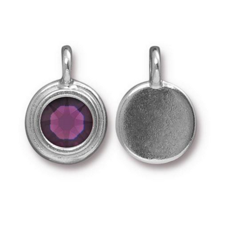 Amethyst Purple Crystal charm, both sides shown
