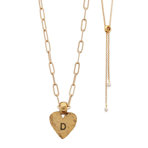 Amore Hand Stamped Gold Heart Adjustable Necklace shown stamped. Inset image of adjustable slider bead with pearl tips