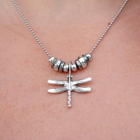 Anise Stainless Steel Layering Necklace with Dragonfly Charm