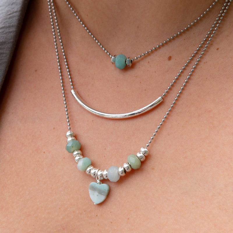 Annatto Layered Necklace with Semi Precious Amazonite Heart Charm
