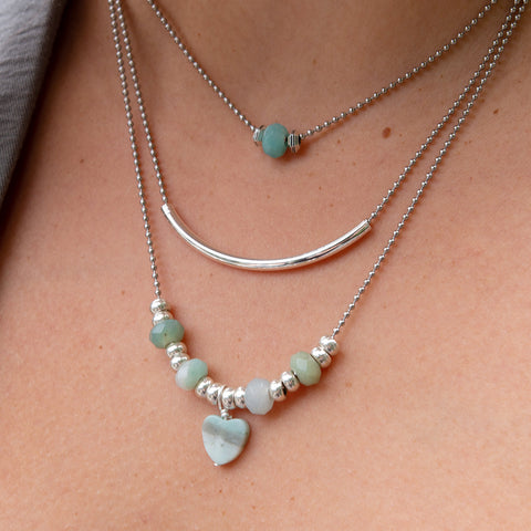 Annatto Layered Necklace with Amazonite Heart Charm