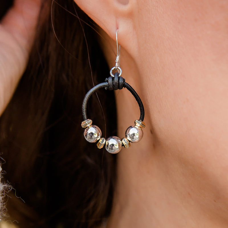 Ansley Leather Circle Earrings