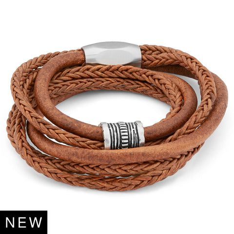 The Apollo braided brown leather wrap bracelet with stainless steel clasp