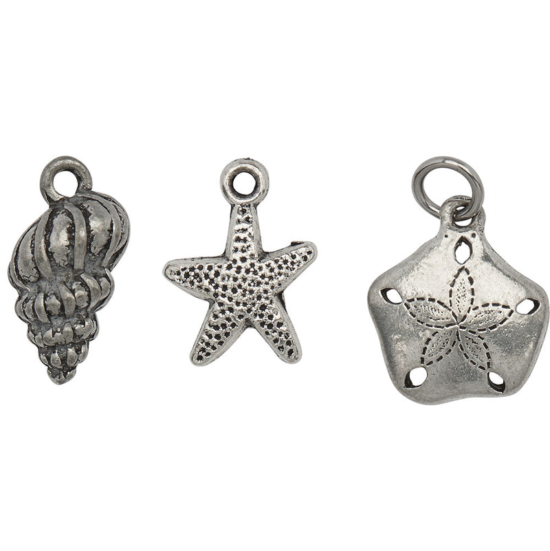 Aquatic Shell Charm Trio
