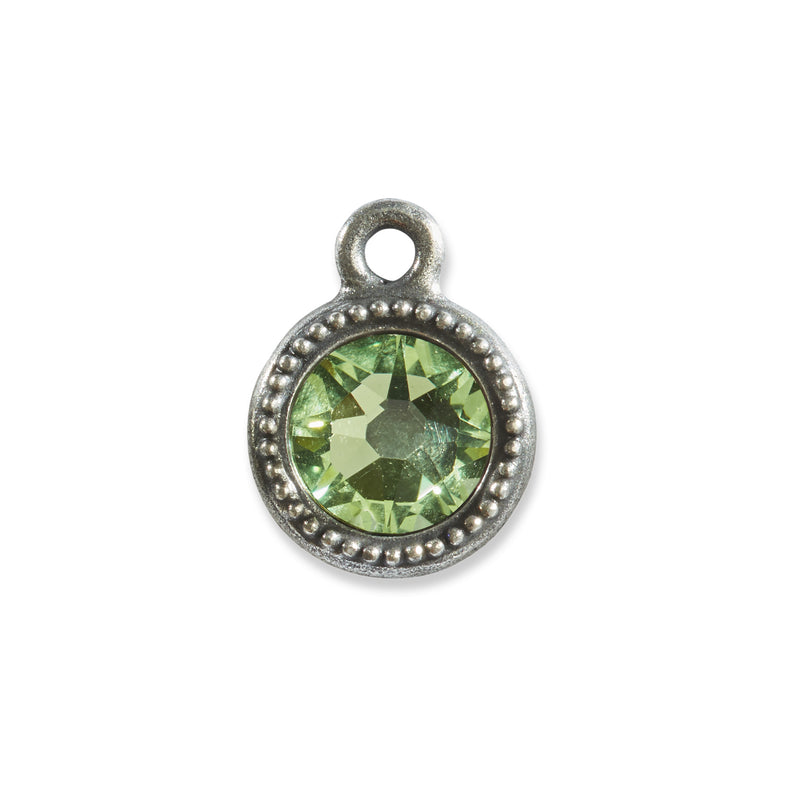 August Birthstone Swarovski Green Crystal Charm