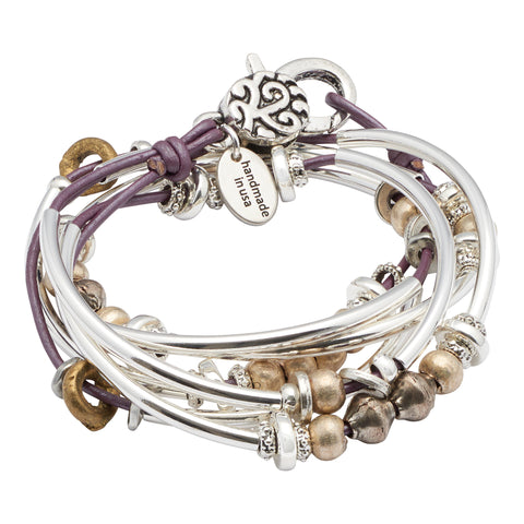 Bella 2 Strand leather wrap bracelet in Metallic Berry leather