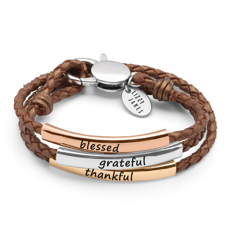 Blessed Grateful and Thankful Engraved Tricolor Bracelet
