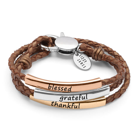 Blessed Grateful and Thankful Tricolor Leather Wrap Bracelet in Metallic Copper