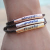Blessed Grateful and Thankful Tricolor Leather Wrap Bracelet in Nat Mocha