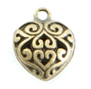 Puffed Heart charm in Brass for lizzy james charm bracelets