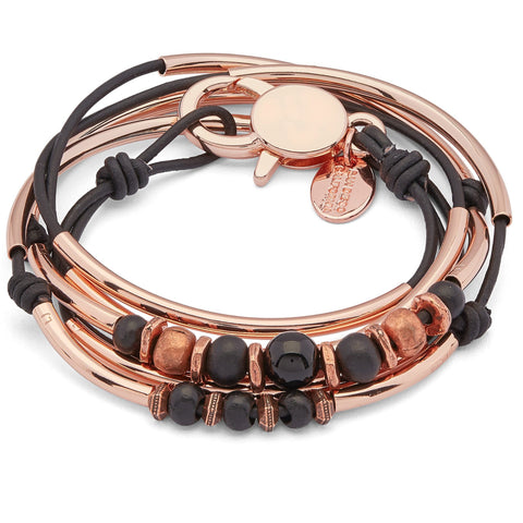 Briana Rose Gold Bracelet with Onyx Copper and Rose Gold Beads