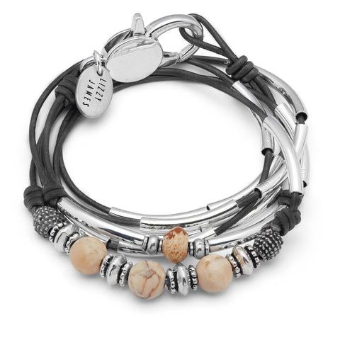 Brooke silver bracelet with African opal bead gemstones