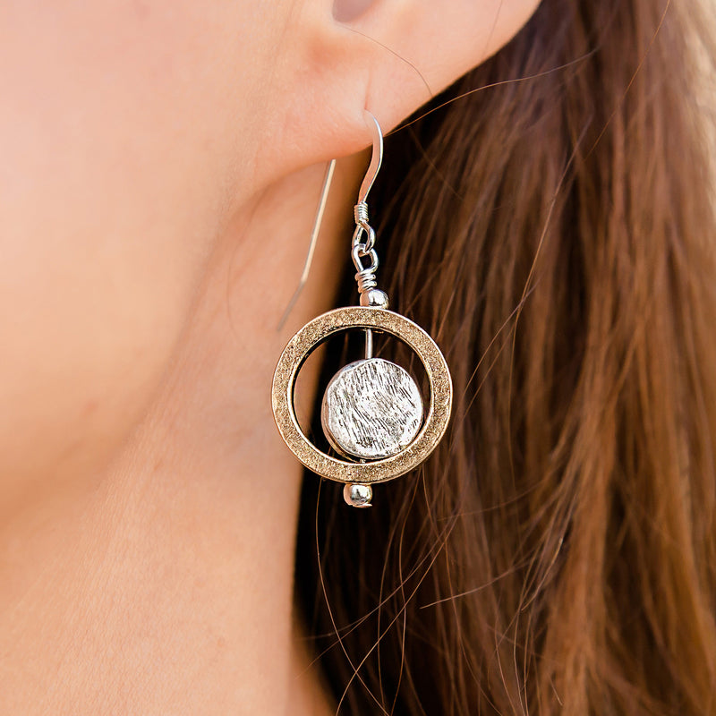 Cameron Gold and Silver Circle Earrings