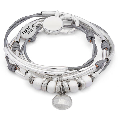 Camille Silver and Leather Wrap Bracelet Necklace with Silver Charm shown in metallic silver leather