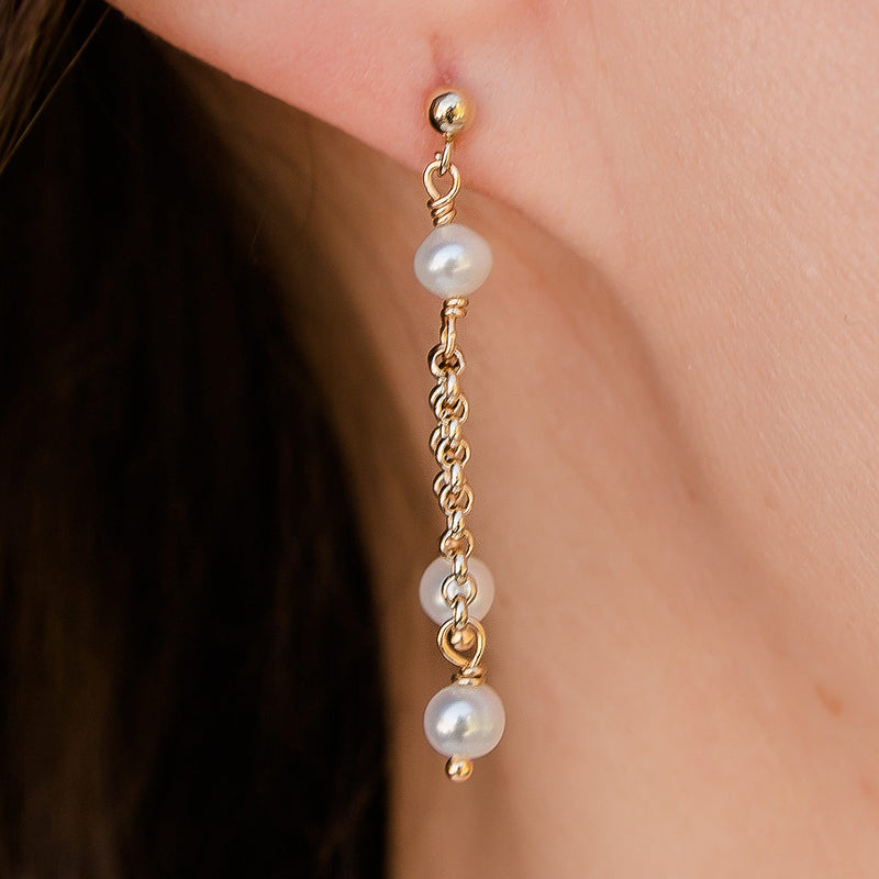 Carina Gold Filled Pearl Earrings