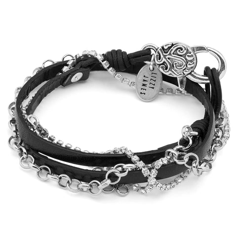Cassidy wrap bracelet with Rhinestones shown in black leather