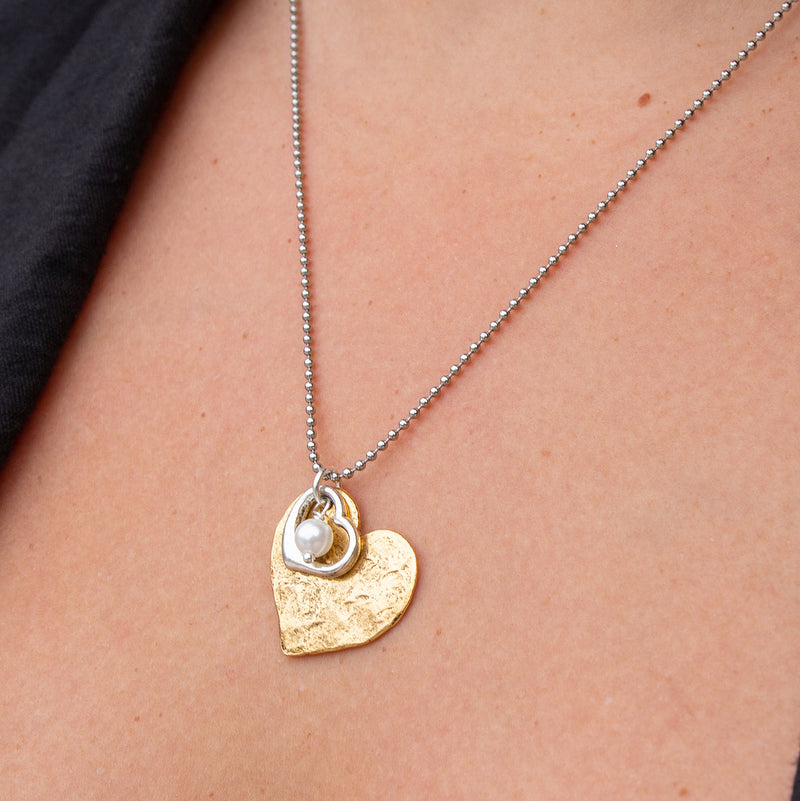 Cayenne Stainless Steel ADJUSTABLE Necklace with Gold Heart Charms, Freshwater Pearl