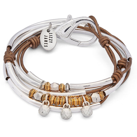 Celine Silver and Leather Wrap Bracelet Necklace with Silver Charms shown in metallic bronze leather